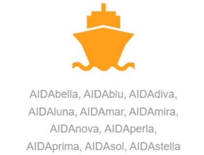 AIDAbella, AIDAblu, AIDAdiva, AIDAluna, AIDAmar, AIDAmira, AIDAnova, AIDAperla, AIDAprima, AIDAsol, AIDAstella